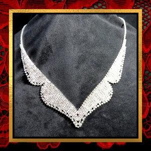 Tuxedo Coat Style Rhinestone Necklace  #JWL-702